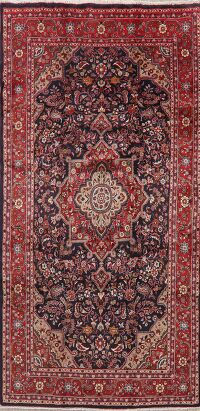 Navy Blue Floral Ghazvin Persian Area Rug 5x9