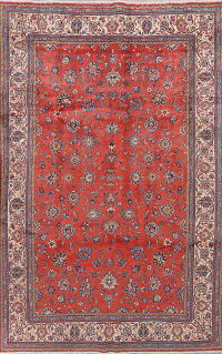Vintage Floral Red Sarouk Persian Area Rug 6x10
