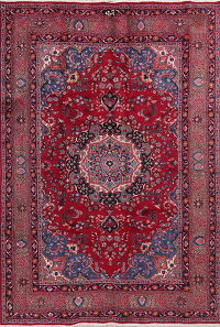 Floral Mashad Red Persian Area Rug 7x10