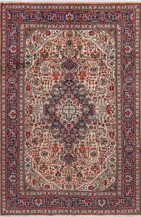 Light Pink Geometric Tabriz Persian Area Rug 6x10