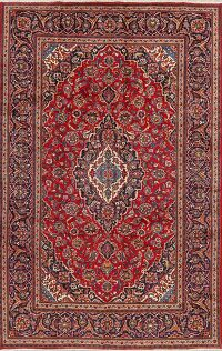 Floral Kashan Red Persian Area Rug 7x11