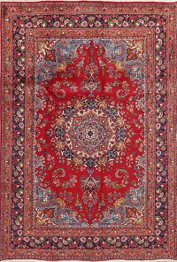 Floral Mashad Red Persian Area Rug 6x9