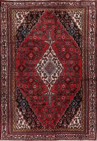 Geometric Red Hamedan Persian Area Rug 6x9