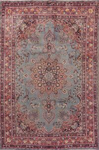 Light Blue Floral Mashad Persian Area Rug 6x10