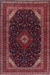Navy Blue Floral Shahbaft Persian Area Rug 7x10