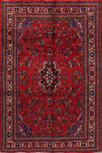 Floral Red Hamedan Persian Area Rug 7x10