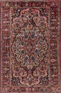 Ivory Floral Bakhtiari Persian Area Rug 7x11
