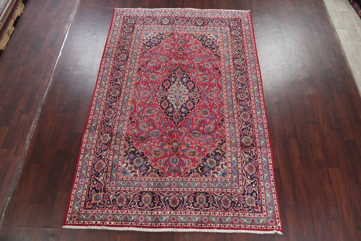 Floral Red Mashad Persian Area Rug 6x10 image 2