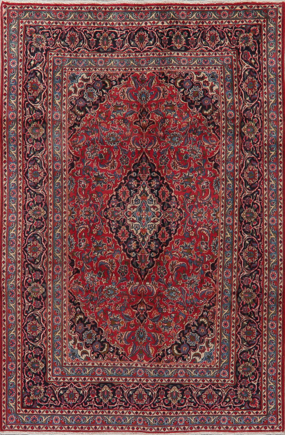 Floral Red Mashad Persian Area Rug 6x10 image 1