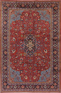 Vintage Floral Red Sarouk Persian Area Rug 7x10