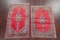 Set of 2 Vintage Geometric Kashan Persian Area Rug 3x4
