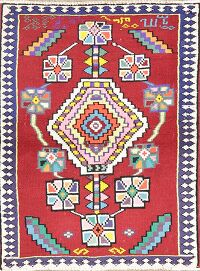 Geometric Red Anatolian Turkish Area Rug 2x4