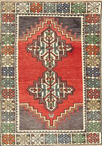 Geometric Red Anatolian Turkish Area Rug 3x4