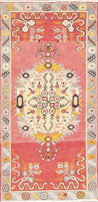 Geometric Red Anatolian Turkish Runner Rug 3x6