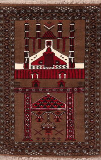 Brown Pictorial Balouch Prayer Oriental Area Rug 3x4