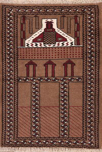 Pictorial Balouch Prayer Oriental Area Rug 3x4
