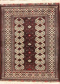 Geometric Red Balouch Oriental Area Rug 3x3 Square