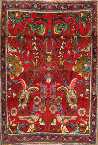 Animal Pictorial Red Tabriz Persian Area Rug 3x5