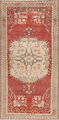 Geometric Red Anatolian Turkish Area Rug 3x6