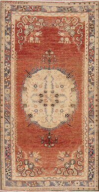 Distressed Geometric Anatolian Turkish Area Rug 3x6