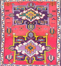 Pink Tribal Kazak Area Rug 3x4