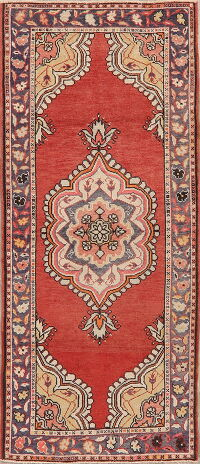 Red Geometric Anatolian Turkish Runner Rug 3x8
