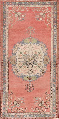 Pink Geometric Anatolian Turkish Runner Rug 3x7