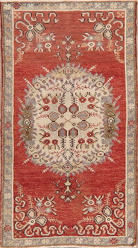 Geometric Red Anatolian Turkish Area Rug 3x5