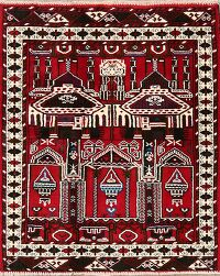 Geometric Balouch Afghan Area Rug 3x3 Square
