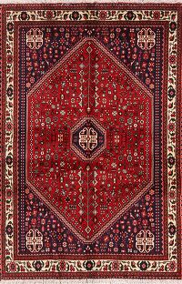 Tribal Geometric Abadeh Persian Red Area Rug 4x5
