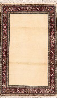 Bordered Solid Bidjar Persian Area Rug 3x5