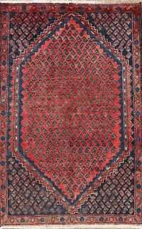 Antique Red Boteh Botemir Persian Area Rug 3x4