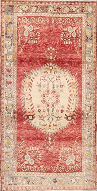 Geometric Red Anatolian Turkish Area Rug 4x7