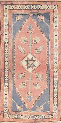 Vintage Geometric Anatolian Turkish Runner Rug 2x5
