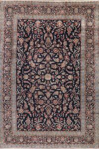 Floral Kashan Persian Navy Blue Area Rug 9x13