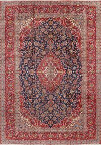 Floral Kashan Persian Navy Blue Area Rug 10x14