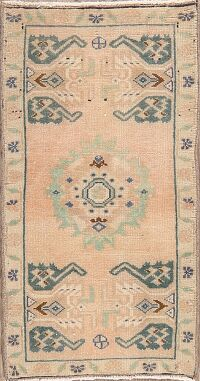 Geometric Oushak Turkish Area Rug 1x3