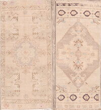 Set of 2 Geometric Oushak Turkish Area Rugs 2x3