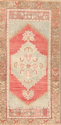 Geometric Red Oushak Oriental Area Rug 2x4