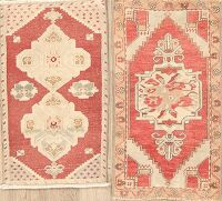 Set of 2 Geometric Red Oushak Turkish Oriental Area Rug 2x3