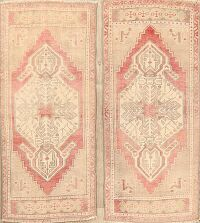 Set of 2 Geometric Oushak Turkish Area Rugs 2x4