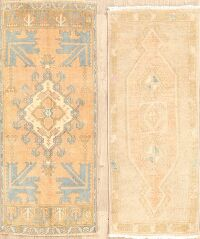 Set of 2 Geometric Anatolian Turkish Oriental Area Rugs 2x4
