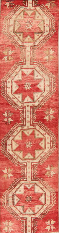 Geometric Red Anatolian Turkish Runner Rug 3x12