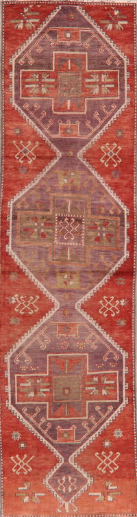 Vintage Geometric Anatolian Turkish Runner Rug 3x10