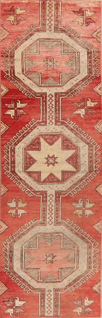Vintage Geometric Anatolian Turkish Runner Rug 3x9