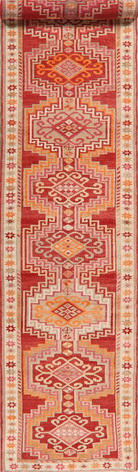 Geometric Red Anatolian Turkish Oriental Runner Rug 3x16