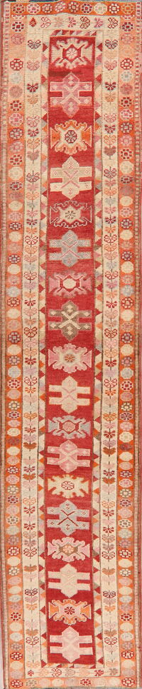 Geometric Red Anatolian Turkish Runner Rug 3x13