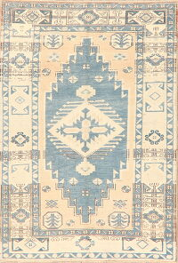 Distressed Geometric Anatolian Turkish Area Rug 5x7