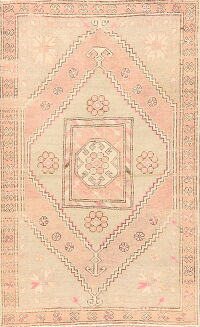 Antique Geometric Anatolian Turkish Area Rug 4x6