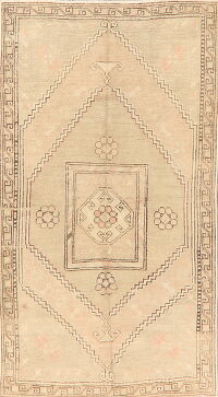 Antique Geometric Anatolian Turkish Area Rug 4x7